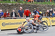 PONTIVY, FRANCE - JUNE 28 : EWAN Caleb (AUS) of LOTTO SOUDAL crash during stage 3 of the 108th edition of the 2021 Tour de France cycling race, a stage of 183,5 kms between Lorient and Pontivy on June 28, 2021 in Pontivy, France, 28/06/2021