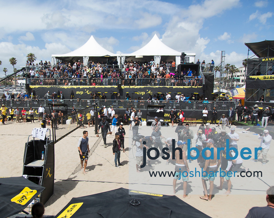 Nick Lucena and Phil Dalhausser pose for the media after the mens championship match of the AVP Huntington Beach Open at Huntington Beach Pier on Sunday, May 7, 2017 in Huntington Beach, California. (Photo/Josh Barber)