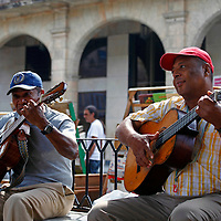 Central America, Cuba, Havana. Guitar Players in Old Havana.