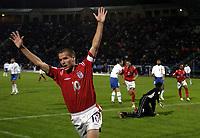 Fotball<br /> VM-kvalifisering<br /> Azerbaijan / Aserbaijan v England<br /> 13.10.2004<br /> Foto: BPI/Digitalsport<br /> NORWAY ONLY<br /> <br /> 13/10/2004 Azerbaijan v England, World Cup Qualifier, Tofiq Berhamov Stadium<br /> <br /> Michael Owen celebrates his opening goal