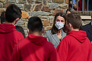 Queen Letizia of Spain attend a Meeting with the Spanish educational community in Andorra during 2 day State visit to Principality of Andorra at Maria Moliner Spanish School on March 26, 2021 in Andorra la Vella, Principality of Andorra  <br /> The two day trip marks the first visit to Andorra since King Felipe's enthronement and is also the first foreign trip since the begin of the Coronavirus pandemic.