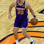 ORLANDO, FL - MARCH 24: Dario Saric #20 of the Phoenix Suns dribbles the ball against the Orlando Magic at Amway Center on March 24, 2021 in Orlando, Florida. NOTE TO USER: User expressly acknowledges and agrees that, by downloading and or using this photograph, User is consenting to the terms and conditions of the Getty Images License Agreement. (Photo by Alex Menendez/Getty Images)*** Local Caption *** Dario Saric