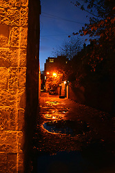 Alleyway at night, West End area of Glasgow, Scotland