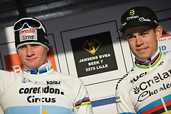 February 10, 2018 - Lille, BELGIUM - Dutch Mathieu Van Der Poel and Belgian world champion Wout Van Aert pictured on the podium after the men's elite race of the Krawatencross cyclocross in Lille, the eighth and last stage in the DVV Verzekeringen Trofee Cyclocross competition, Saturday 10 February 2018. BELGA PHOTO DAVID STOCKMAN (Credit Image: © David Stockman/Belga via ZUMA Press)