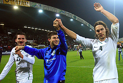 Slovenian players Andraz Kirm (17), Bojan Jokic (13) and Marko Suler (4) celebrate at the fourth round qualification game of 2010 FIFA WORLD CUP SOUTH AFRICA in Group 3 between Slovenia and Northern Ireland at Stadion Ljudski vrt, on October 11, 2008, in Maribor, Slovenia.  (Photo by Vid Ponikvar / Sportal Images)