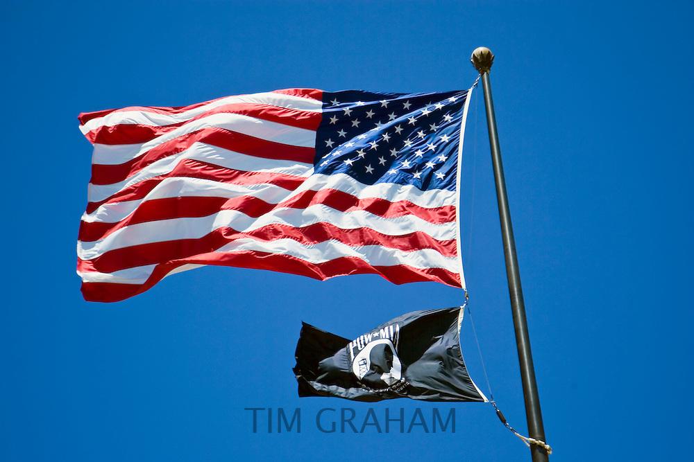 Stars and stripes American flag flying at full mast, Washington DC, USA