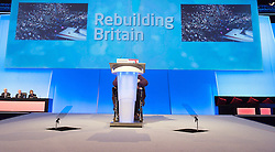 (Delegate in wheelchair had to wait till he nearly finished his speech before the lectern came down to his level) Delegate speaking during the Labour Party Annual Conference in Manchester, Great Britain, September 30, 2012 Photo by Elliott Franks / i-Images.