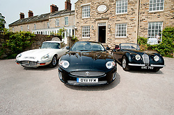 Hatfields Jaguar Ride and Drive event at the Cavendish Hotel Baslow Derbyshire.Left to right E Type, Modern XK and an original XK.5th May 2011.Images © Paul David Drabble
