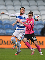 Football - 2020 / 20-21 Sky Bet Championship - Queens Park Rangers vs Derby County - Kiyan Prince Foundation Stadium<br /> <br /> Jason Knight of Derby County holds off the challenge from Chris Willock of Queens Park Rangers.<br /> <br /> COLORSPORT