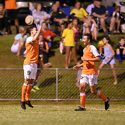 BRISBANE, AUSTRALIA - FEBRUARY 10: Mirza Muratovic of the Roar celebrates scoring a goal during the NPL Queensland Senior Mens Round 2 match between Gold Coast United and Brisbane Roar Youth at Station Reserve on February 10, 2018 in Brisbane, Australia. (Photo by Football Click / Patrick Kearney)