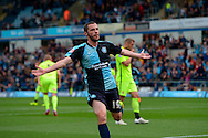 Michael Harriman of Wycombe Wanderers celebrates after he scores his sides first goal to make it 1-0. Skybet football league two match, Wycombe Wanderers v Hartlepool Utd at Adams Park in High Wycombe, Bucks on Saturday 5th Sept 2015.<br /> pic by John Patrick Fletcher, Andrew Orchard sports photography.