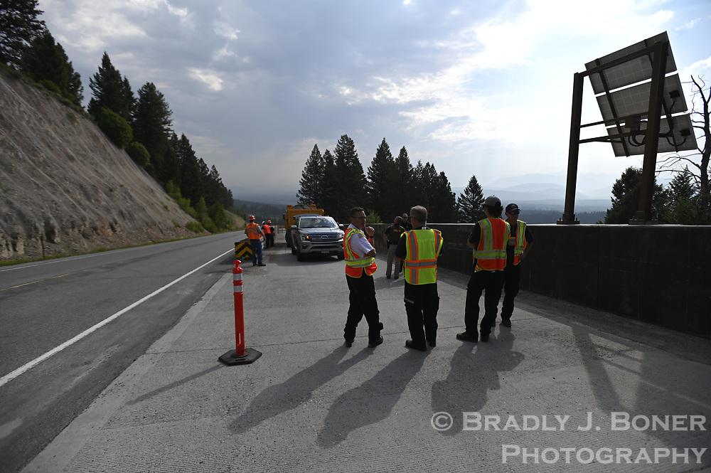 Live test of the runaway truck arrestor on Teton Pass.