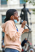 A speaker addresses a crowd of anti-racial injustice protestors gathered outside Houses of Parliament in Central London on Sunday, Aug 16, 2020. The protest against police brutality is called by Black Lives Matter and it enters the 12th weekend of continuous demonstrations against racial injustice in Britain. (VXP Photo/ Vudi Xhymshiti)