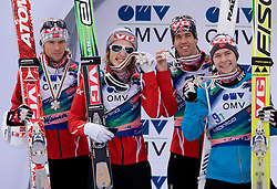 Second team of Norway, from L: ROMOEREN Bjoern Einar, EVENSEN Johan Remen, BARDAL Anders and JACOBSEN Anders during medal ceremony after Flying Hill Team Second Round at 4th day of FIS Ski Flying World Championships Planica 2010, on March 21, 2010, Planica, Slovenia.  (Photo by Vid Ponikvar / Sportida)