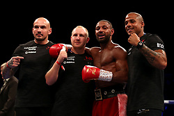 Kell Brook (second right) with trainer John Fewkes (second left) and his ring-side team after winning the Final Eliminator WBA Super-Welterweight Championship at the FlyDSA Arena, Sheffield.