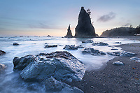 Twilight at Split Rock on Rialto Beach, Olympic National Park