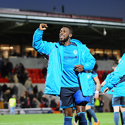 TELFORD COPYRIGHT MIKE SHERIDAN 17/11/2018 - Amari Morgan-Smith of AFC Telford celebrates with the fans at full time during the Vanarama Conference North fixture between FC United of Manchester and AFC Telford United.