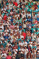 Pope John Paul II made his historic tour to the United States, September 10-18, 1987, visiting Miami, Florida; Columbia, SC; New Orleans, LA; San Antonio, TX, Phoenix, AZ, Los Angeles, CA; Monterrey, CA, San Francisco, CA, and Detroit, MI. <br /> <br /> Crowd scene at Dodger stadium, Los Angeles.