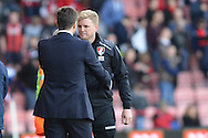 Bournemouth Manager Eddie Howe and Tottenham Hotspur Head Coach Mauricio Pochettino at the end of the Barclays Premier League match between Bournemouth and Tottenham Hotspur at the Goldsands Stadium, Bournemouth, England on 25 October 2015. Photo by Mark Davies.
