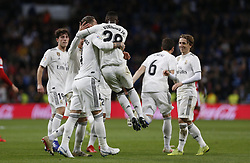 January 24, 2019 - Madrid, Madrid, Spain - Sergio Ramos(Real Madrid) seen celebrating with Vinicius Jr (Real Madrid) after scoring a goal during the Copa del Rey Round of quarter-final first leg match between Real Madrid CF and Girona FC at the Santiago Bernabeu Stadium in Madrid, Spain. (Credit Image: © Manu Reino/SOPA Images via ZUMA Wire)