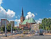 Szczecin, (woj. zachodniopomorskie), 15.07.2013. Bazylika archikatedralna świętego Jakuba w Szczecinie.