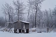 Fishing gear stored for the winter in an Alaskan village