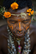 Man in traditional dress, Mclaren Harbour, Tufi, Cape Nelson, Oro Province, Papua New Guinea