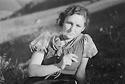 Herta Lindinger smoking, Molln, Austria, 1935