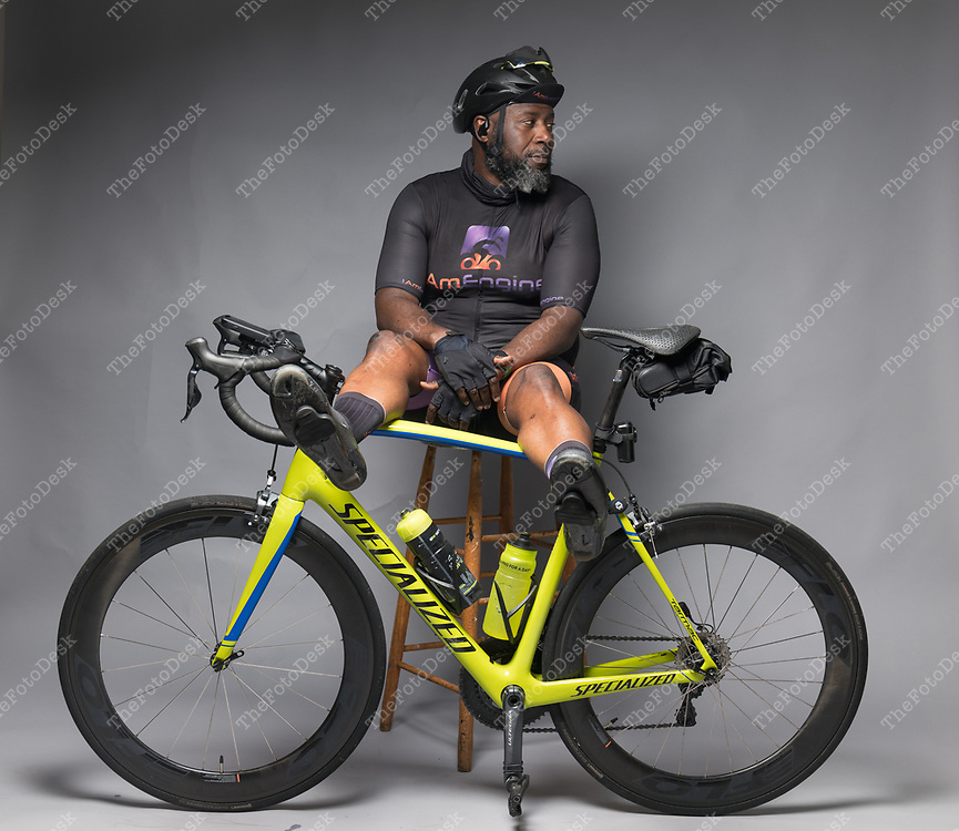PLAINFIELD, NEW JERSEY, Cyclists Eugene Jones with his I am Engine Cycling kit  (Brian Branch-Price/TheFotoDesk)