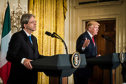 President Donald Trump participates in a joint press conference with Prime Minister Paolo Gentiloni of Italy in the East Room of the White House in Washington, District of Columbia, U.S., on Thursday, April 20, 2017. Trump and Gentiloni are meeting ahead of the G-7 industrialized nations meeting in Italy next month.