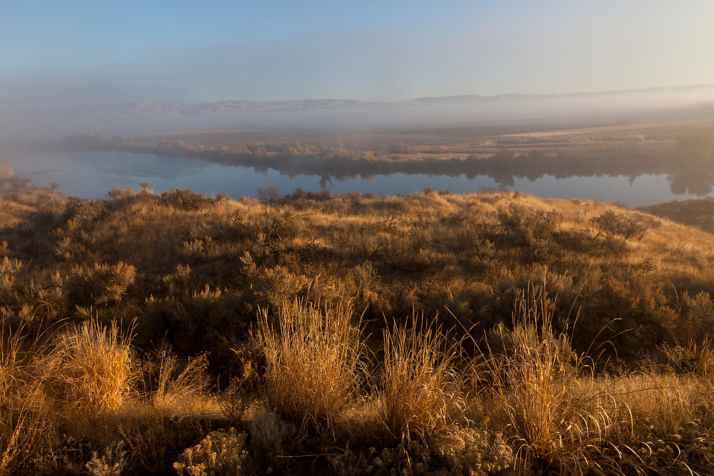 Early morning sunrise along the Snake River near Weiser Idaho with lifting fog and golden sunshine. Licensing and Open Edition Prints.