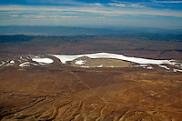 Aerial view of Soda Lake, a shallow, ephemeral, alkali lake, in the Carrizo Plain in southeastern San Luis Obispo County, California.
