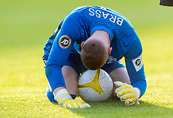 WREXHAM, WALES - Thursday, September 17, 2020: Connah's Quay Nomads' goalkeeper Lewis Brass bleeds from a cut to his head after a collision during the UEFA Europa League Second Qualifying Round match between Connah's Quay Nomads FC and FC Dinamo Tbilisi at the Racecourse Ground. Dinamo Tiblisi won 1-0. (Pic by David Rawcliffe/Propaganda)