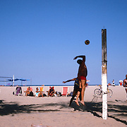 A game of beach volleyball in the afternoon sunshine on Copacabana Beach. Rio de Janeiro, Brazil. 12th July 2011. Photo Tim Clayton