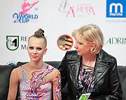 Davidova Valeriya during qualifying at ribbon in Pesaro World Cup at Adriatic Arena on April 27, 2013. Valeriya was born December 15, 1997 in Tashkent,Uzbekistan. She is an Uzbek individual rhythmic gymnast.