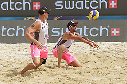 28.07.2016, Strandbad, Klagenfurt, AUT, FIVB World Tour, Beachvolleyball Major Series, Klagenfurt, Herren, im Bild Clemens Doppler (1, AUT), Alexander Horst (2, AUT) // during the FIVB World Tour Major Series Tournament at the Strandbad in Klagenfurt, Austria on 2016/07/28. EXPA Pictures © 2016, PhotoCredit: EXPA/ Gert Steinthaler