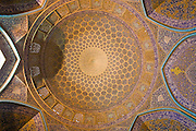 Under the main dome of the extravagantly tiled and decorated private mosque: Sheikh Lotfollah Mosque, in Imam Square, Isfahan, Iran. (Imam Square is also called Naghsh-i Jahan Square).