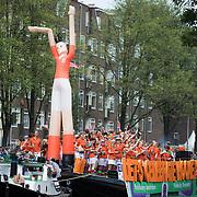 NLD/Amsterdam//20170805 - Gay Pride 2017, boot Pink Hockey Amsterdam