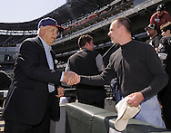 CHICAGO - APRIL 5:  Hall of Fame pitcher Bob Feller greets fans prior to the Opening Day game between the Chicago White Sox and Cleveland Indians on April 5, 2010 at U.S. Cellular Field in Chicago, Illinois.  The White Sox defeated the Indians 6-0.  (Photo by Ron Vesely)
