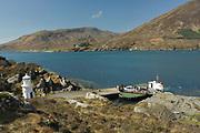 Isle of Skye car ferry, at Glenelg, in Kyle Rhea, looking across to Skye, Skye & Lochalsh, Highland.