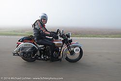 Cris Sommer Simmons riding her 1934 Harley-Davidson VD through the fog during Stage 8 of the Motorcycle Cannonball Cross-Country Endurance Run, which on this day ran from Junction City, KS to Burlington, CO., USA. Saturday, September 13, 2014.  Photography ©2014 Michael Lichter.
