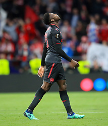 Arsenal's Danny Welbeck shows his dejection after the final whistle during of the UEFA Europa League, Semi Final, Second Leg at Wanda Metropolitano, Madrid.