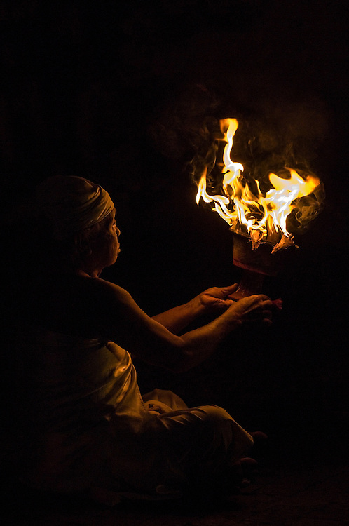 Portrait of a fire shaman during the kecak dance in Bali, Indonesia
