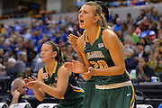 April 4, 2016; Indianapolis, Ind.; Hannah Wandersee cheers on her teammates in the NCAA Division II Women's Basketball National Championship game at Bankers Life Fieldhouse between UAA and Lubbock Christian. The Seawolves lost to the Lady Chaps 78-73.