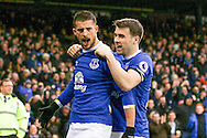 Kevin Mirallas of Everton (l) celebrates with teammate Seamus Coleman after scoring his teams 2nd goal. Premier league match, Everton v Manchester City at Goodison Park in Liverpool, Merseyside on Sunday 15th January 2017.<br /> pic by Chris Stading, Andrew Orchard sports photography.
