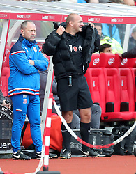 Referee Robert Madley is replaced by fourth official Jon Moss due to injury during the Premier League match at the bet365 Stadium, Stoke-on-Trent.