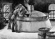 Adding hops to boiling beer in an American brewery. Wood engraving published 1885.