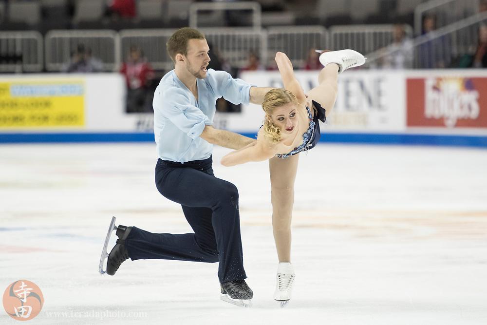 January 4, 2018; San Jose, CA, USA; Tarah Kayne and Danny O'Shea perform in the pairs short program during the 2018 U.S. Figure Skating Championships at SAP Center.