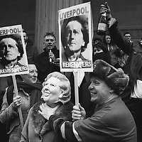 Liverpool, UK, 17th April, 2013. People in Liverpool celebrate the death of Margaret Thatcher.