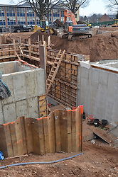 Foundation, forms, shoring and earthmoving operations. Central Connecticut State University. New Academic / Office Building.  Project No: BI-RC-324. Architect: Burt Hill Kosar Rittelmann Associates. Contractor: Gilbane Building Company, Glastonbury, CT.